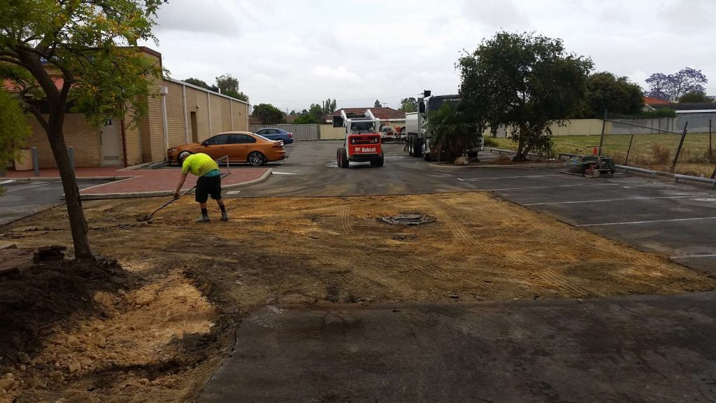Nk asphalt Hambleys IGA standard granite car park process
