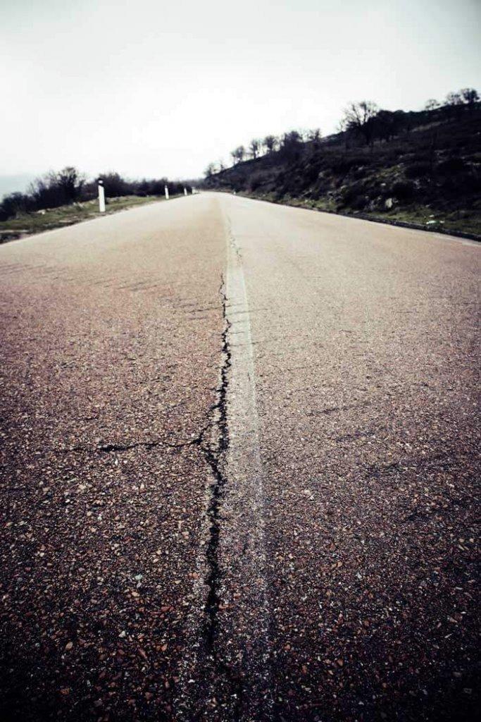 Linear crack in asphalt