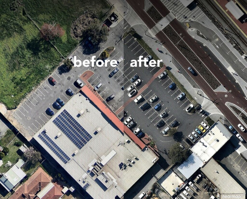Nk asphalt Hambleys IGA before and after of car park resurfacing